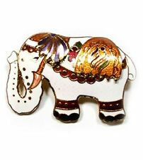 Beautiful white Cloisonne elephant brooch  PIN010097
