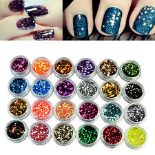 24 Mixed Color Nail Art Sequins Acrylic Glitter Powder Dust Tips Decoration Tool