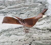 """Vintage Hand Carved Wood Island Bird 5"""" tall Beautiful Woodgrain Figurine"""