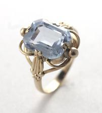 Vintage Retro Aquamarine March Birthstone Ring 14k Yellow Gold Size 6