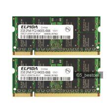 NEW 4GB 2X2GB PC2-6400 DDR2 PC6400 800Mhz laptop Notebook Memory NON-ECC