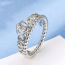 Princess Queen Crown Silver Plated Ring Design Wedding Crystal For Women HGUK