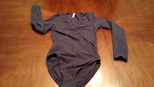 American Apparel Blue Long Sleeve Body Suit Leotard M Medium Cross Front
