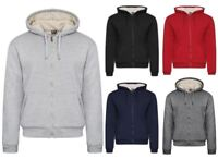 NEW MENS WOMENS FUR LINED HOODED FLEECE JACKET WARM THICK CASUAL WORK TOP SIZE