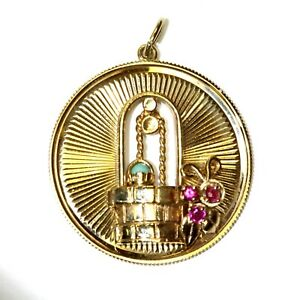 14k yellow gold Turquoise Natural Ruby Wishing Well pendant 10.8g estate womens