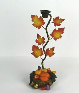 """Resin and Metal basket Tapered Candle Holder Thanksgiving 11"""""""