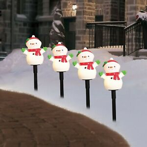 New Holiday Time Set of 4 Snowman Lawn Stakes