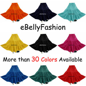 Women Cotton 3 Tiered 6 Yard Skirt Maxi Belly Dance Gypsy Flamenco Tribal Jupe