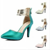 Wedding Party Back Zip Sandals Women Heels Cut Out Closed Pointy Toe Ankle Strap