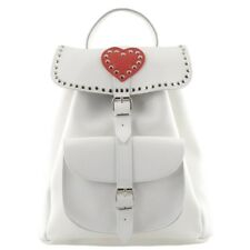 GRAFEA JULIETTE White Leather Backpack with Red Heart, New