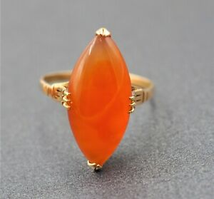 Women's 18ct Yellow Gold Carnelian Gemstone Handmade Fine Vintage Jewellery