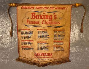 Vintage Carstairs Boxing Champions Ad Banner! Joe Louis, Jack Dempsey NYC USA