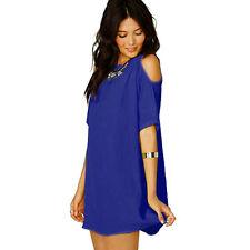 Plus Size Womens Off Cold Shoulder Tops Chiffon Baggy T-Shirt Blouse Tunic Dress