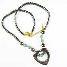 Black Hematite Heart Blue Turquoise Pendant Adjustable Necklace 17.5 inch F42776