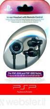 PSP Sony In-Ear Auricolari Con Telecomando PSP-2000 PSP-3000