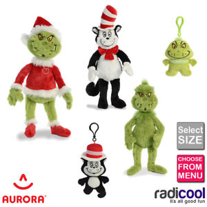 Aurora Dr.Seuss The Grinch Cat in the Hat ALL SIZES PLUSH Cuddly Soft Toy Kids