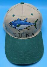 TUNA beige / green adjustable cap / hat - bluefin fish - 100% cotton
