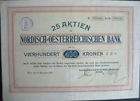 Nordisch Oesterreichische Bank hist Aktie Wien 1922 + Kupons Österreich Austria
