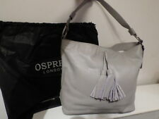 NWT OSPREY LEATHER GREY LARGE HOBO SHOULDER BAG RRP £225