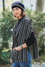 BNWT NEXT Ladies Hooded Navy Blue White Jacquard Cover Up Cardigan Poncho Jumper