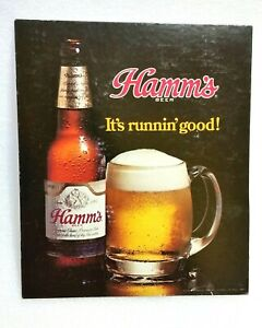 Vintage HAMM'S Beer Advertising Sign, Its Running Good, Cardboard Stand Up Style