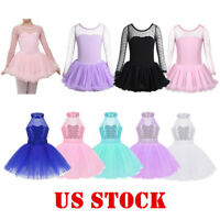 US Girls Ballet Dance Dress Leotard Tutu Skirt Kid Performance Dancewear Costume