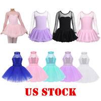 US Girls Ballet Dance Dress Leotard Tutu Skirt Kid Performance Dancewear Costume