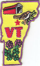"""""""VT"""" VERMONT STATE SHAPE - Iron On Embroidered Applique Patch/New England"""