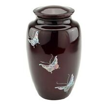 "New Cremation Urn, Metal, Adult ""Mother of Pearl Inlaid Butterfly"" Hand Painted!"