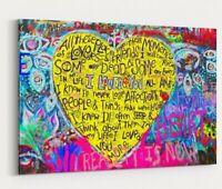 Love Hearts Graffiti Banksy Print Canvas Wall Art