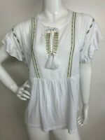 Lucky Brand Woman Cotton XL White Yellow Embroidered Boho Peasant Top Blouse NWT