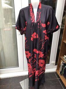 Women's  Size 22 Long Floral Kaftan Dress Long  Front Zip.