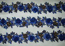 * Vintage Antique Border Sari Trim Lace  2 ft Flower Floral Blue Ribbon Craft NR