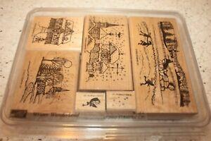 Retired 2002 Stampin Up Winter Wonderland 6 Pc Set Wooden Stamps Unused