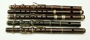 5 old wooden piccolo fife flute English / German