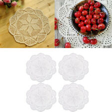 4x Durable Crochet Lace Table Doily Place Mat Cup Mat Handmade Table Decors