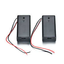 2PCS Battery Holder 2AA Case 1.5V Box Cover ON/OFF Switch with 15cm Wire Lead