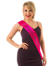 Happy Birthday Party HOT Pink & BLACK Sash for Birthday Girl with diamantes