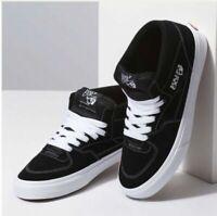 🔥 Vans Half Cab Skateboarding Shoes ® ( Men Sizes UK  9   9.5  10 ) Black Suede