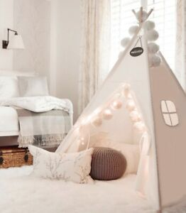 Teepee+ Padded Mat+ Light+ Carry Bag Play Tent for Kids Childrens Wigwam