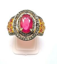 New Look 925 Solid Silver,Ruby Gemstone ,Pave Diamond Ring Pink Color Gemstone