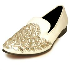 Fiesso White Diamond Rhinestone Suede Round Toe Smoking Party Loafer Size 8
