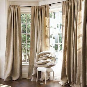 "2 Burlap Drape Panel 60""Wx96""L Premium Heavy Natural Jute Curtains Room Divider"