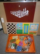 """Big Wooden Box Deluxe Multi Game Board Games Chess, Crib, Dice, Dominoes, 17""""x12"""