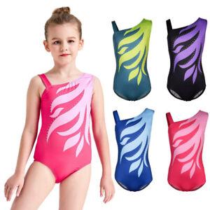 Kids Girls Gymnastics Leotard Ballet Dance Jumpsuit Sleeveless Dancewear 5-14Y