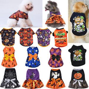 Puppy Dogs Pumpkin Dress Pet Cat Dog Cotton Vest Clothes Costume Suits Halloween