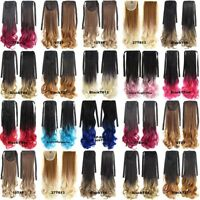 Synthetic Wavy Curly Pony Tail Ombre Wrap Around Ponytail Clip In Hair Extension