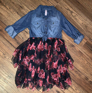 Justice Girls Jean 3/4 Sleeve Top @ Frill Tulle Dress - Size 12  - Priced Right