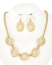 HOPE Coastal Matte Gold SEA SWIRLS Chain Necklace & Dangle Earrings Set NWT