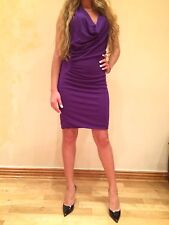 Yigal Azrouel purple ruched stretch jersey dress 10 $790 New
